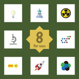 Flat Icon Science Set Of Irradiation, Chemical, Lightbulb And Other Vector Objects. Also Includes Molecule, Gas Stock Photo