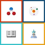 Flat Icon Science Set Of Nuclear, Milky Way, Flame And Other Vector Objects. Also Includes Nuclear, Molecule Stock Photography