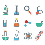 Flat icon science. A set of plane icons with symbols of science and medicine Royalty Free Stock Photography