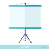 Flat icon screen on tripod object. On white Stock Photos