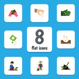 Flat Icon Seed Set Of Seed, Packet, Man And Other Vector Objects. Also Includes Sow, Seed, Glove Elements. Royalty Free Stock Photography