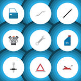 Flat Icon Service Set Of Coupler, Pipeline, Lifting And Other Vector Objects. Also Includes Warning, Part, Stop Elements vector illustration