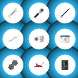 Flat Icon Service Set Of Turnscrew, Lifting, Coupler And Other Vector Objects. Also Includes Wrench, Pulley, Automatic Royalty Free Stock Photos