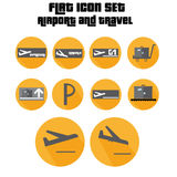 Flat Icon Set Arrivals, Departure, Suitcase Sign With Plane In The Airport Royalty Free Stock Photos