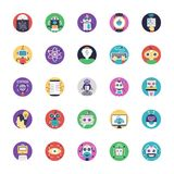 Artificial Intelligence Flat Vector Icons Pack stock illustration
