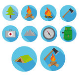 Flat Icon Set Of Axe And Fire With Long Shadow For Travel, Hiking Stock Photography