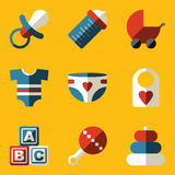 Flat icon set. Baby. Children. Family Royalty Free Stock Photos