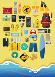 Flat Icon Set of Backpack Travel on Summer Holiday. Flat Design Icon Set  of  Backpack Traveling on Summer Vacation, Surfboard, Minimal Style, Vector Stock Image