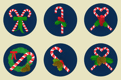 Flat icon set, Christmas candy canes design Stock Photography