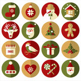 Flat icon set of christmas. Stock Image