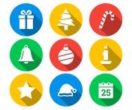Flat icon set of Christmas Royalty Free Stock Images