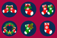 Flat icon set, christmas socks design Stock Image