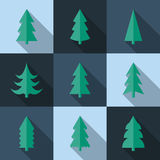 Flat icon set of Christmas trees Stock Images