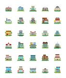 Set of City Buildings Vector Icons. This flat icon set of city buildings consists of wide range of architectural designs ranging from educational institute stock illustration