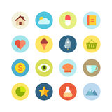 Flat icon set on the colored background Royalty Free Stock Photo