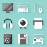 Flat icon set. Computer. White style Stock Photography