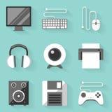 Flat icon set. Computer. White style Stock Photography