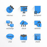 Flat icon set design bkue. Vector illustration Royalty Free Stock Image