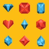 Flat icon set. Diamond Royalty Free Stock Photo