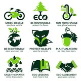 Flat icon set for eco friendly environment. The drop shadow contains transparencies, eps10 Stock Images