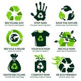Flat icon set for eco friendly recycling. The drop shadow contains transparencies, eps10 Stock Image