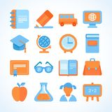 Flat  icon set of education symbols Royalty Free Stock Image