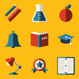 Flat icon set. Education Stock Photography