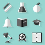 Flat icon set. Education. White style Royalty Free Stock Photos
