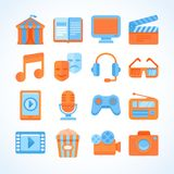 Flat  icon set of entertainment symbols Royalty Free Stock Photography
