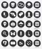 Flat Icon Set of Film Genres and Rating System. Set of Film Genres Icon and Film Rating System in Flat Design, Vector, Black and White Stock Photos