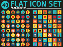 48 flat icon set. Food and drinks. Vector. Royalty Free Stock Image