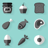 Flat icon set. Food. White style. Vector illustration in eps10 Stock Image