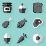 Flat icon set. Food. White style Stock Image