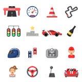 Flat icon set of formula 1 cars and racing symbols. Championship trophy, finish competition auto, vector illustration stock illustration