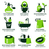 Flat icon set for green eco bathroom. The drop shadow contains transparencies, eps10 Royalty Free Stock Photo