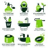 Flat icon set for green eco bathroom Royalty Free Stock Photo