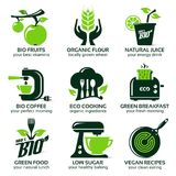 Flat icon set for green eco kitchen. The drop shadow contains transparencies, eps10 Royalty Free Stock Photo