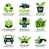 Flat icon set for green eco nature. The drop shadow contains transparencies, eps10 Stock Images