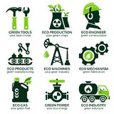Flat icon set for green eco production. The drop shadow contains transparencies, eps10 Royalty Free Stock Photo
