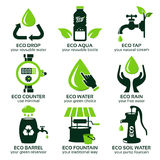 Flat icon set for green eco water Stock Photos