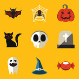 Flat icon set. Halloween Stock Photography