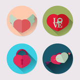 Flat icon set of heart. Valentine`s Day pack Stock Photos