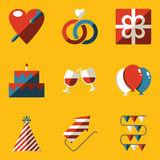 Flat icon set. Holiday. Love Royalty Free Stock Images