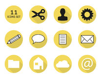 11 flat icon set. Set of isolated 11 icons (buttons) in flat style vector illustration