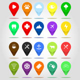 Flat icon set location flag design illustration compilation. Flag colorful design to describe point of location on digital map Stock Photography