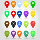 Flat icon set location flag design illustration compilation Stock Photography
