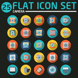 25 flat icon set. With long shadow Royalty Free Stock Photo