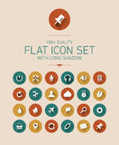 Flat icon set with long shadow Stock Images
