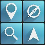Flat icon set map marker for Web and Application. Basic map marker Flat simple icon set for Web and Mobile Application. Illustration of checkpoint. Vector Royalty Free Stock Image