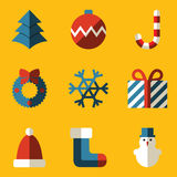 Flat icon set. Merry Christmas stock illustration